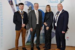 Causeway Chamber President David Boyd(right) welcomes guests to the President's Business lunch at the Royal Court Hotel in Portrush with from the left, Causeway Coast and Glens Council Mayor Cllr Sean Bateson, Kevin Holland CEO of Invest NI  along with Chamber CEO Karen Yates.       02 Chamber Lunch