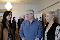 Danske Bank's Roger Hamilton chatting with Maressa McWilliams and Lisa Coyle of the City of Derry Airport attending the Causeway Chamber President's Business lunch at the Royal Court Hotel in Portrush.    06 Chamber Lunch