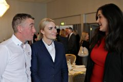Ian Lamont and Cara Barnes of Roadside Garages with Claire Sugden MLA attending the Causeway Chamber President's Business lunch at the Royal Court Hotel in Portrush.    08 Chamber Lunch