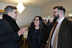 Tre Sheppard of Zero Hours Studios with Sarah Wall and Andrew McSparran of MPA attending the Causeway Chamber President's Business lunch at the Royal Court Hotel in Portrush.    09 Chamber Lunch
