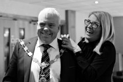 Job done as Annette Deighan removes the chain of office from President David Boyd at the end of the Causeway Chamber President's Business lunch at the Royal Court Hotel in Portrush.   17 Chamber Lunch
