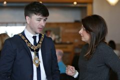 Mayor Sean Bateson with Karise Hutchinson Provost at UU attending the Causeway Chamber President's Business lunch at the Royal Court Hotel in Portrush.      18 Chamber Lunch