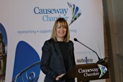 Welcoming all to the Causeway Chamber President's Business lunch at the Royal Court Hotel in Portrush is Chamber CEO Karen Yates.    19 Chamber Lunch