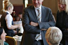 Guest speaker Kevin Holland CEO Invest NI meeting chamber members at the Causeway Chamber President's Business lunch at the Royal Court Hotel in Portrush.    31 Chamber Lunch