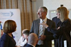 Guest speaker Kevin Holland CEO Invest NI with Karen Yates Chamber CEO meeting chamber members at the Causeway Chamber President's Business lunch at the Royal Court Hotel in Portrush.    33 Chamber Lunch